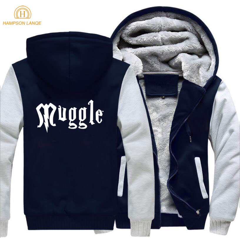 Movie Hogwarts Muggle Letters Print Funny Clothing 2019 Winter Men Hoodies Thick Jacket Plus Size Tracksuit Casual Zipper Coat in Hoodies amp Sweatshirts from Men 39 s Clothing