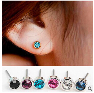 EY670  1 Pair  New Fashion Joker Joker Shiny Silver Side Small Stud Crystal Earrings Jewelry Wholesale Diameter 4mm