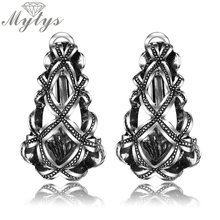 Серьги Mytys с геометрическим крестом, серое, античное ювелирное изделие, Brincos, Ретро дизайн, Женские винтажные серьги CE510