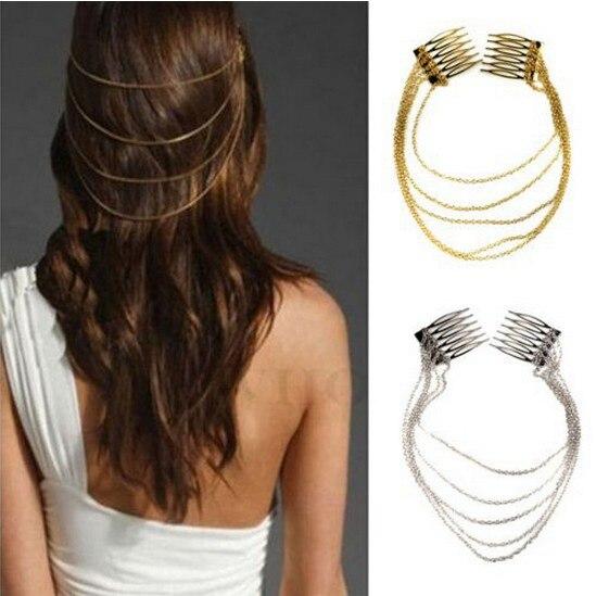 LNRRABC Metal Tassel Chain Headband Women Hair Accessories Clip Hair Comb Bridal Ladies Leaf   Headwear   accesorios para el pelo