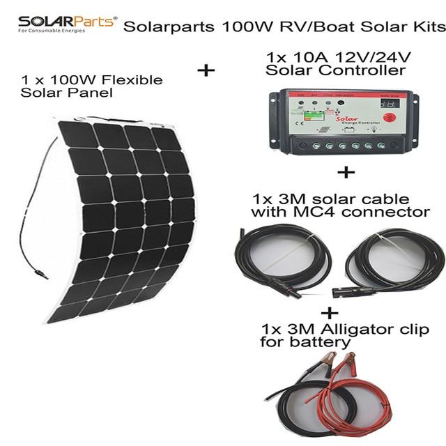 Solarparts 100W DIY Solar panel cell placa System Sistema RV Boat Kits flexible celular 10A controller  MC4 cable clip camping