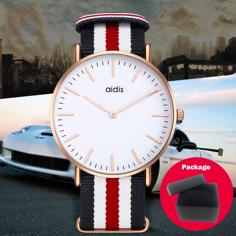 Men & Women High Quality Nylon Leather Wristwatch Rose Gold Clock Super Thin gift Watch Dw Style Relogio Classic Quartz Watch high quality rose gold silicone watch women ladies men fashion dress quartz wristwatch relogio feminino gv008