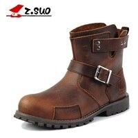 Z. Suo erkekler çizmeler. ağızlık toka rahat moda erkekler boots, vintage deri erkekler için batı çizmeler, Botas alt Adam zsx122