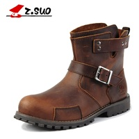 Z Suo Men Boots Mouthpiece Buckle Casual Fashion Men Boots Vintage Leather Western Boots For Men