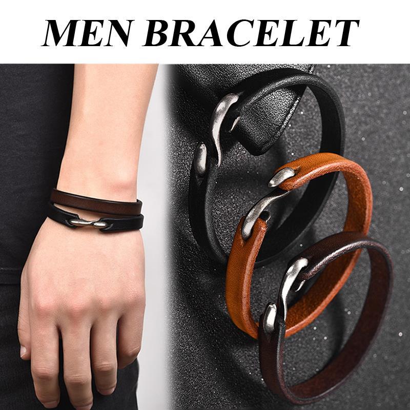 Men Leather Bracelet Vintage Black Brown Male Wristband Bangles S Hook Clasp Connectors Charms Leather Cords Bracelet Jewelry