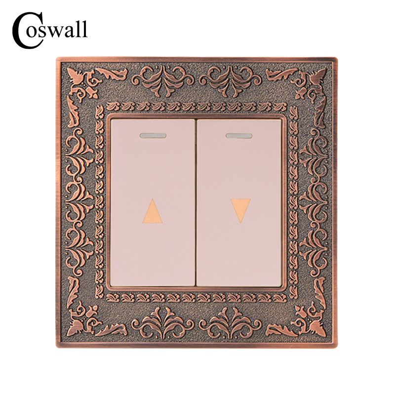 Coswall Curtain Switch Wall Switch For Electric Curtain Lifting Equipment 4D Embossing Retro Zinc Alloy Metal Panel Coswall Curtain Switch Wall Switch For Electric Curtain Lifting Equipment 4D Embossing Retro Zinc Alloy Metal Panel