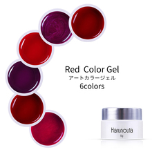 Harunouta 5g Red Color UV Gel Polish Soak Off Varnish One-shot Nail Art Glitter Pure