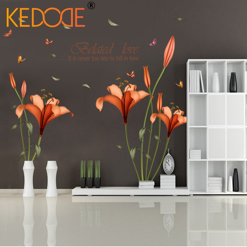 KEDODE PVC butterfly orange flower leaves wall stickers children room living room bathroom kitchen landscaping decorative mural