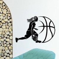 Basketball Wall Decal Basketball Player Design Sport Gym Girl Mural Art Vinyl Wall Sticker Bedroom Decorative Home Decoration
