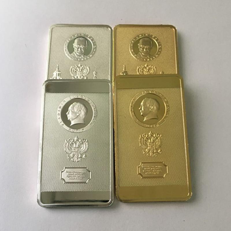 4 stks De Poetin coin president van Rusland badge Poetin moskou kremlin zilver 24 K real vergulde Russische souvenir bar coin