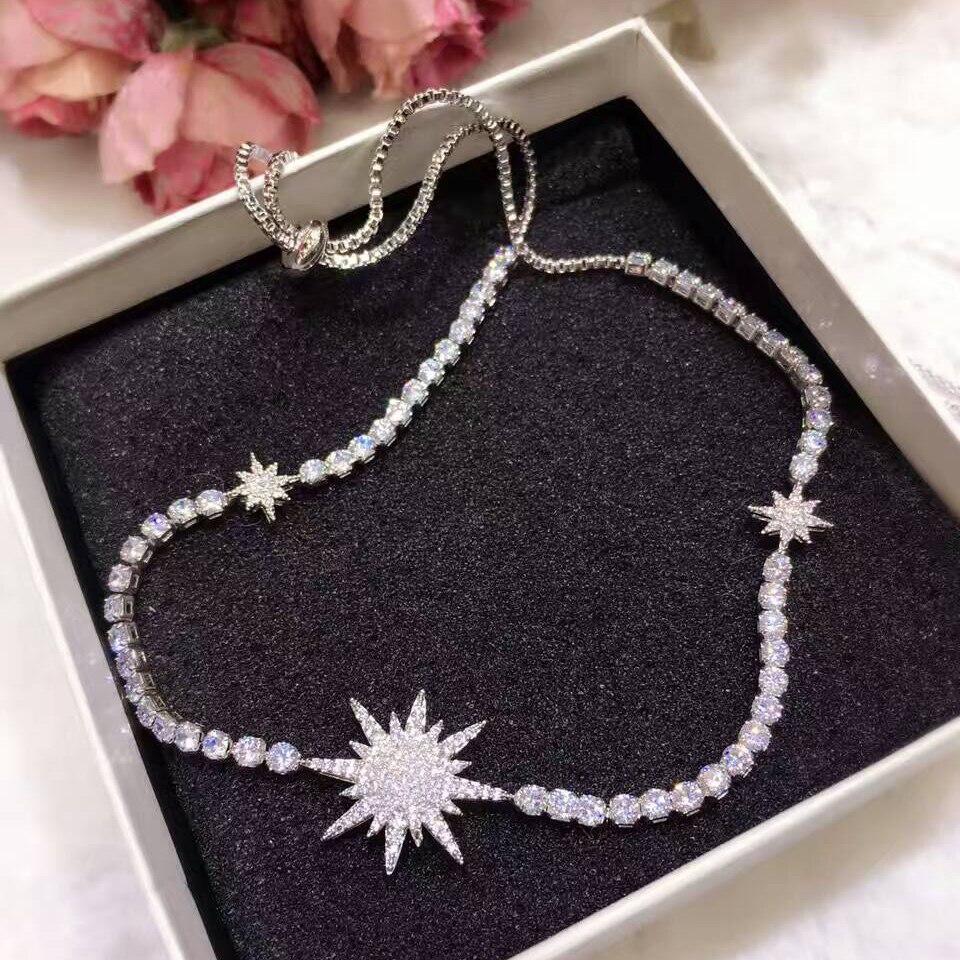 GODKI Fashion Star AAA Cubic Zircon Trendy Geometric Adjust Length Wedding Necklace ...