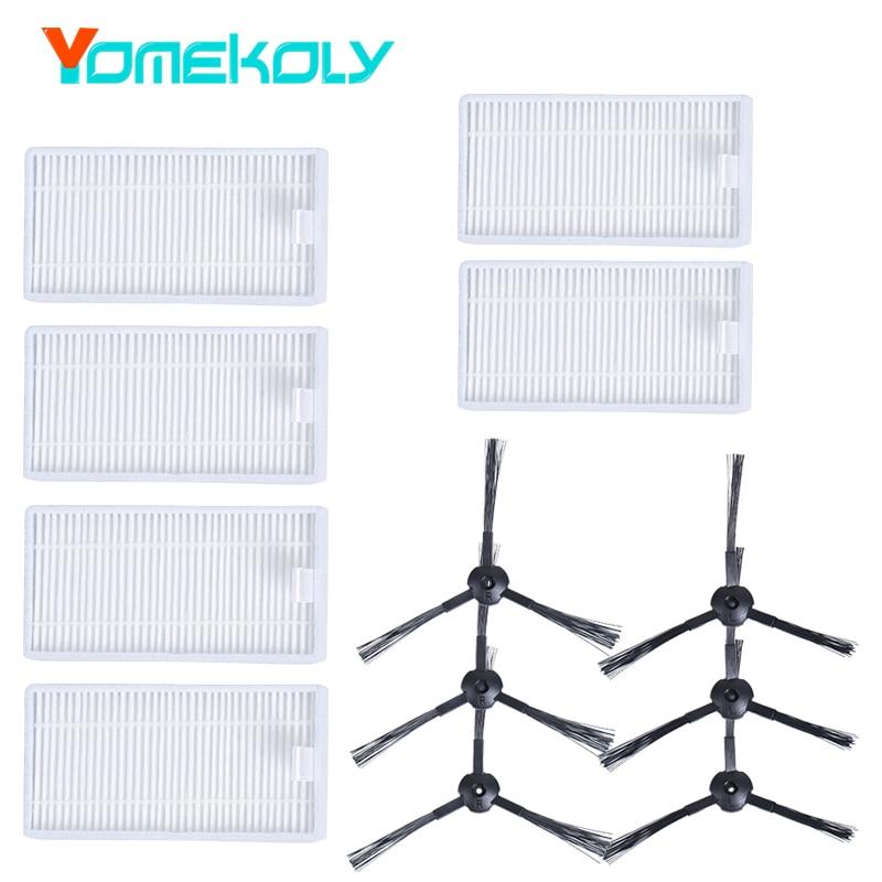 Vacuum Accessories for ilife x5 V3 V3S V3S Pro V5 V5S V5S Pro V50 V55 Vacuum Cleaner Spare Part 12pcs Side Brush Hepa Filter Set inmotion v3s