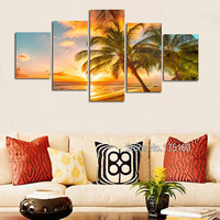 Home Decor Canvas Beach Paintings On Wall Decor Sunset Ocean Wall Art Painting Set Modern Seascape For House 5 Piece No Frame