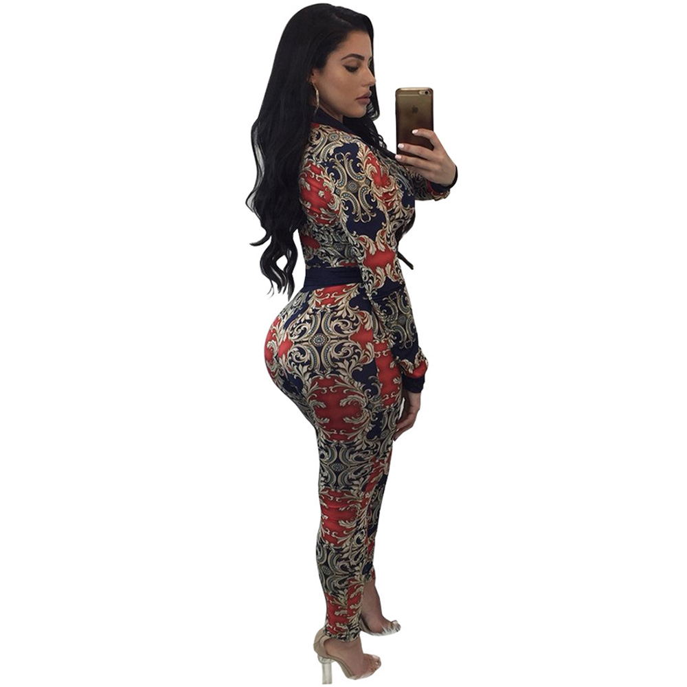 2018 Vintage Printed Jumpsuit Women Two Piece Zippers Skinny Elegant Jumpsuit Long Sleeve Bodysuit Sexy Overalls Bodycon Rompers