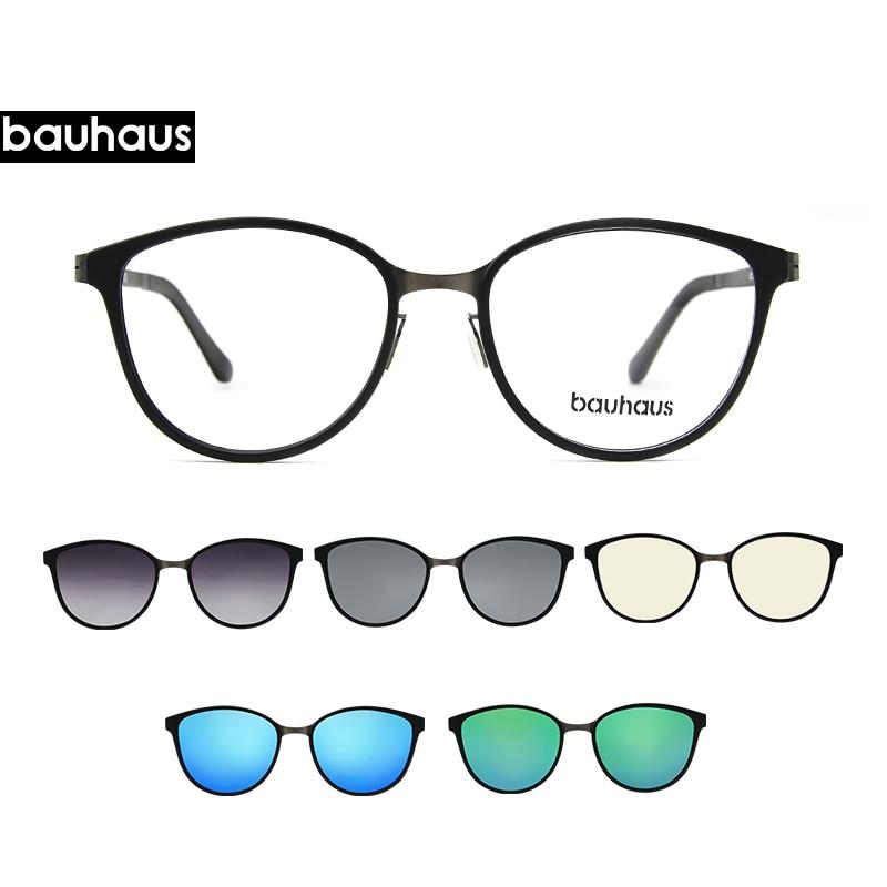 Clip On Cat Eye Eyewear Frames Women Frame  3in1 Memory Core Inside Polarized Magnet Clip Sunglasses  Women Magnet Frame Myopia