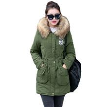 купить 2019 New Long Sleeves Parkas Female Womens Winter Jacket Coat Thick Cotton Warm Jacket Womens Outwear Parkas Plus Size Fur Coat по цене 1113.09 рублей