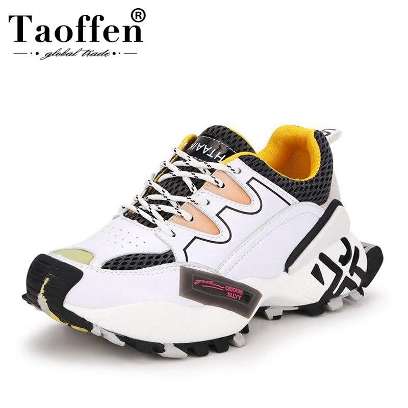 Taoffen Tide marque papa chaussures femmes 2019 printemps nouvelle plate-forme baskets chaussures en cuir véritable chaussures décontractées surélevées taille 35-40