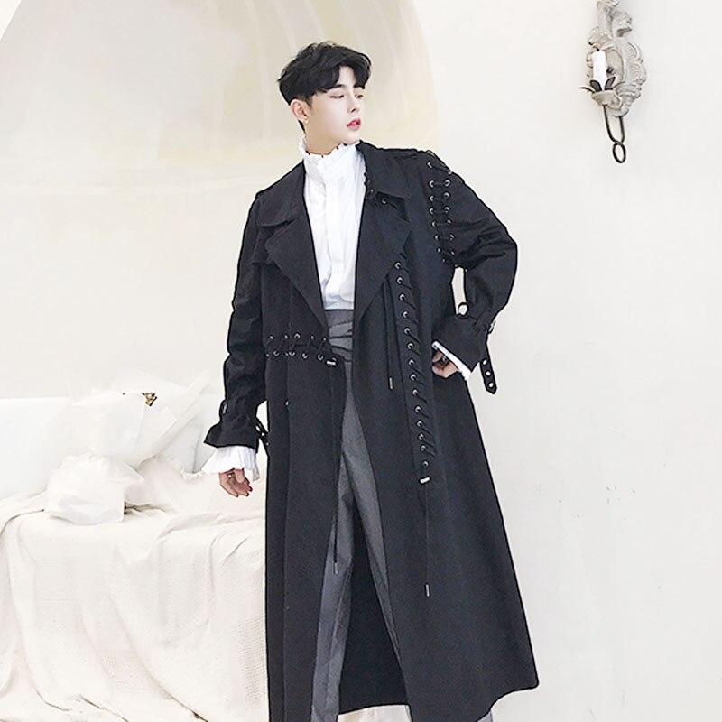 Men Long Casual Trench Coat Ribbon Cardigan Windbreaker Jacket Streetwear Outerwear Male Women Punk Gothic Loose Overcoat