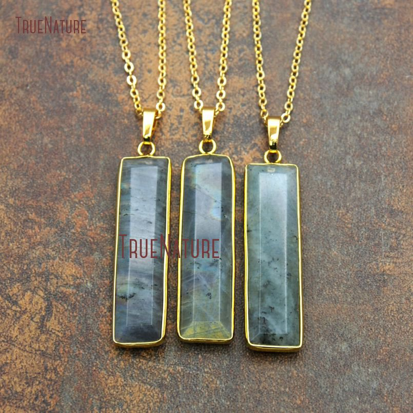 1d06e933d023d US $26.4  Vintage Sex Jewelry Gold Electroplated Link Long Chains Rectangle  Labradorite Pendant Necklace For Women In 18 inch NM11133-in Pendant ...
