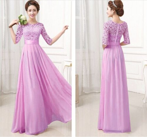 Wedding Long Maxi Dress Gown Hot New Women Formal Lace Prom Ball Solid Princess
