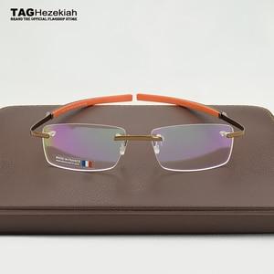 Image 4 - 2019 Frameless Eyeglasses Brand TAG Hezekiah Myopia Glasses Frame for Man and Woman TH0341 eye glasses oculos de grau eyewear