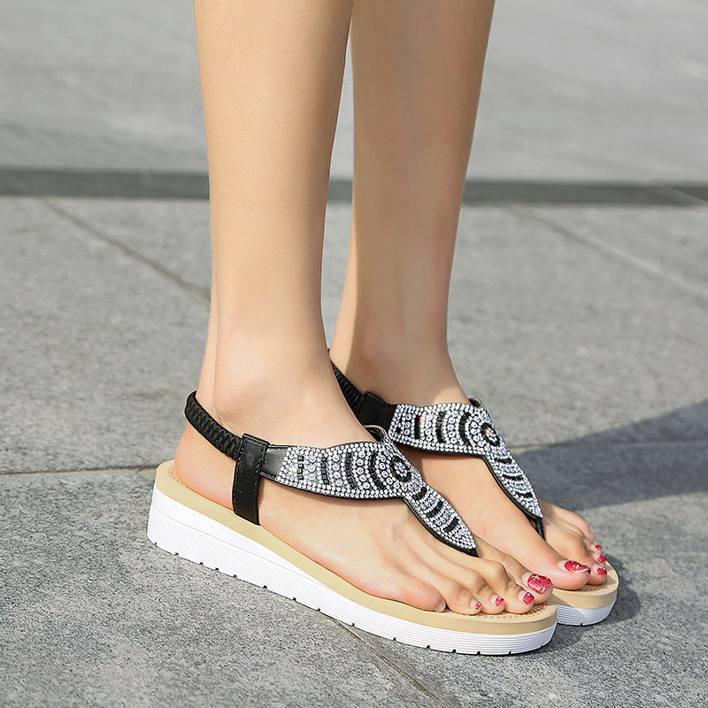 8a18488b Aliexpress.com : Buy Jookrrix Summer Boho Beach Shoes Women Fashion Bling  Thong Sandal Lady Rhinestone Playa Wedges Shoes Female Crystal chaussure  from ...
