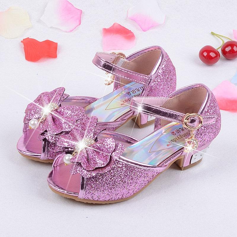 d25e4f4336 US $16.72 10% OFF|Girls sandals 2019 high heels children fashion princess  leather summer elsa shoes chaussure enfants fille sandalias-in Sandals from  ...