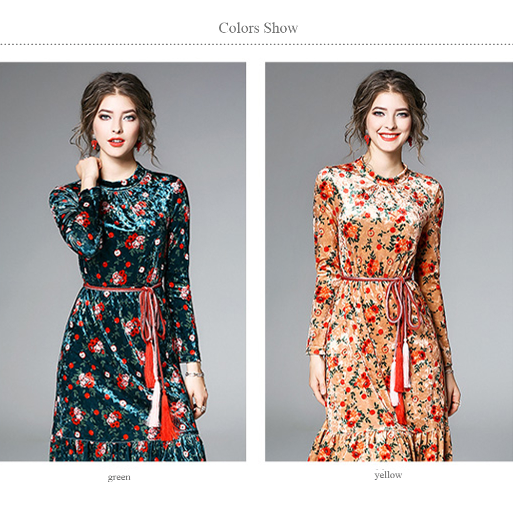 4228b7f7bd9ee Simgent Women Elegant Dress Stand Collar Long Sleeve Flower Print Fashion  Office Casual Mermaid Velvet Dress Robe Hive SG712181-in Dresses from ...