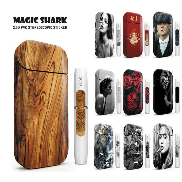 Magic Shark Flower Rose Lady Wood Print Stereo Film Sticker for IQOS 2.4 Plus Cover Case for IQOS 2.4 Plus Vape