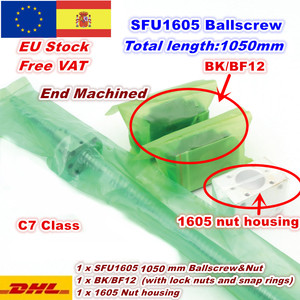 [EU Delivery] SFU1605 Ballscrew L300mm/ 500mm/ 600mm /800mm /1050mm End Machined + BK/BF12 Support + Nut Housing CNC Router(China)