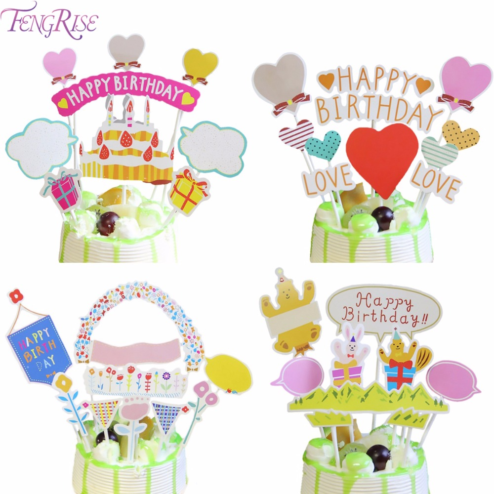 FENGRISE Happy Birthday Cake Topper Cars Trunk Baby Shower Cupcake Toppers Birthday Party Decorations Kids Boy Girl Cake Decor
