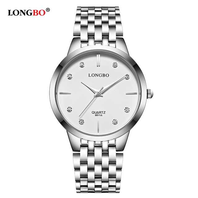 Longbo Casual Men Women Stainless Steel Band Fashion Lovers Business Watches Wat