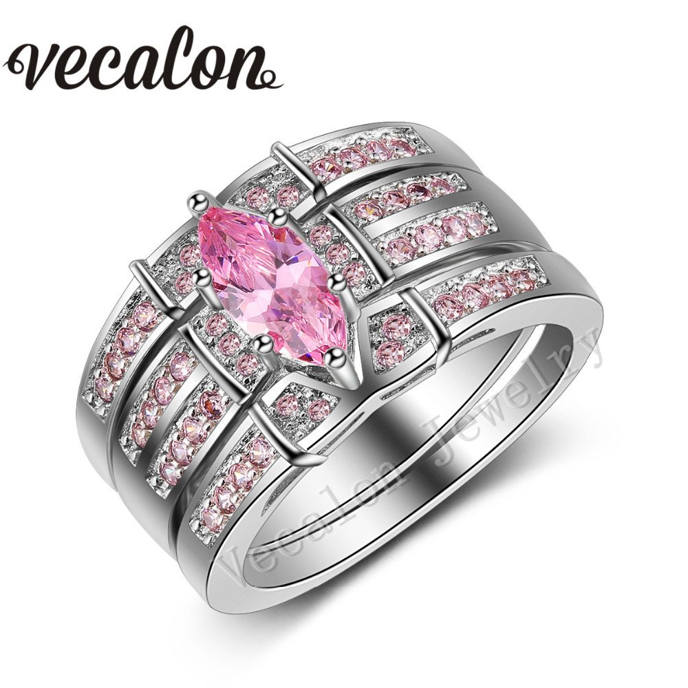 vecalon women wedding band ring set marquise cut 3ct pink stone aaaaa zircon cz 14kt white