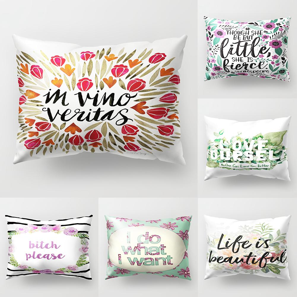 Home Textile Purposeful Fashion Throw Pillow Case Flower Letter Print Sofa Bed Cushion Cover Home Hotel Car Decor Smt288 Quality And Quantity Assured