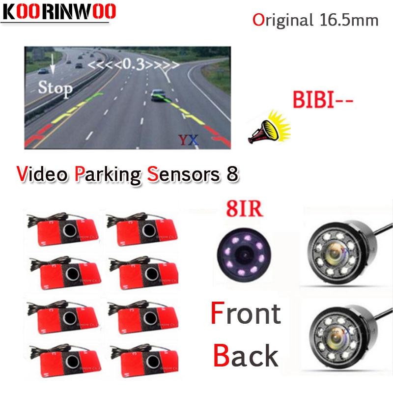 KOORINWOO Dual Core CPU Car Parking Sensor 8 Reversing Radar Video System Auto Parking Camera Alert Sound detector parktronic 12v parking rgb reversing video camera for vw tiguan a4 a6 q5 rns510 rcd510 5nd 827 566 c 5n0 827 566c 5nd827566c