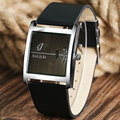 Erkek Saat  Fashion Square Dial Black Leather Band Quartz Wrist Watch Men Hours Clock Gifts Q0861