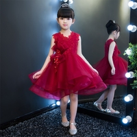 2017 New Luxury Wine Red Ball Gown Formal Party Girls Lace Dress Summer Princess Tutu Dress