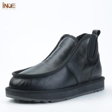 INOE real sheepskin leather sheep wool fur lined men casual winter snow boots for men winter shoes warm waterproof black slip-on(China)