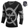 Мужчины 2015 зимние свитера модный дизайн темные цвета прохладный трикотаж мужская одежда свитер бесплатная доставка H9014