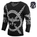 2015 inverno v-neck camisola moda escuro cores malha camisola Freeshiping H9014