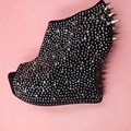 Black Rhinestones Rivets Abnormal Heels Pumps For Women Shoes Extreme High Platforms Sexy Heels Women Wedge Shoes