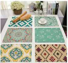 """CAMMITEVER 12""""x16"""" Red Green White Ivory Blue Yellow Napkins Geometric Geometry Table Napkin Handkerchief Cloth for Diner Party"""