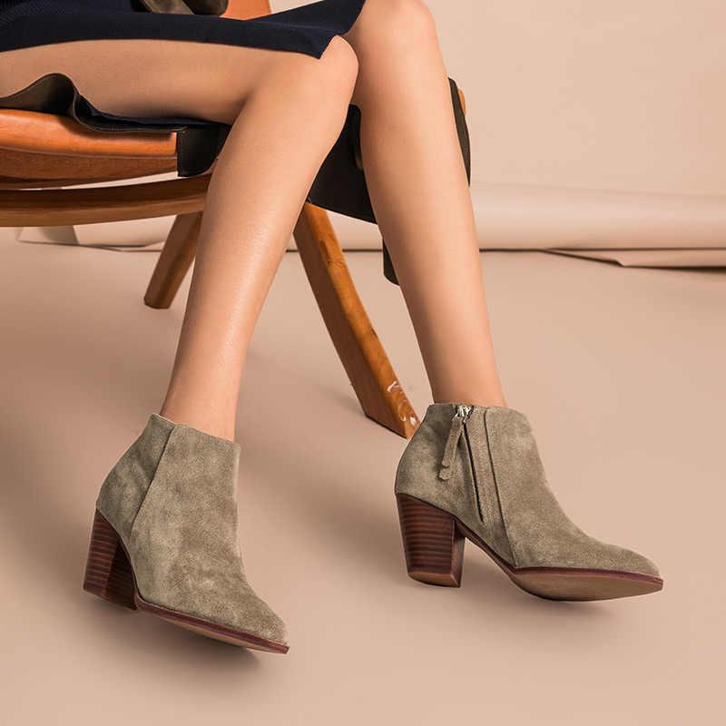 BeauToday yarım çizmeler Kadınlar En Kaliteli Marka Hakiki Deri Inek Süet Sivri Burun Fermuar Yüksek Topuk Ayakkabı El Yapımı 03314