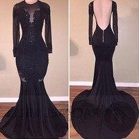 Formal Black Long Sleeve Evening Dresses Mermaid Vestidos de Festa Lace Sexy Backless Prom Dress Bead Sweep Train Applique Abiye