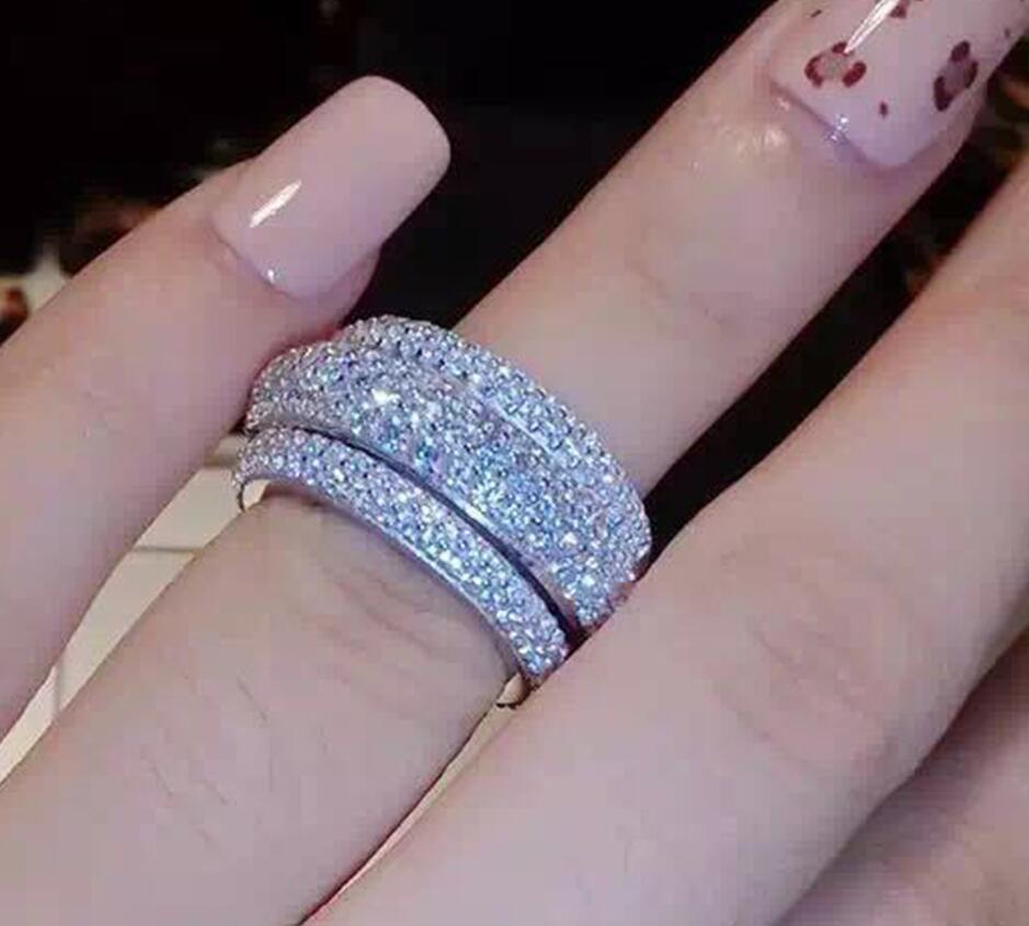 Choucong Wieck Completa Pave AAA Cubic Zirconia 925 Sterling Silver Simulato pietre Delle Donne di Nozze di Fidanzamento Band Ring Size5-11