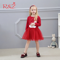 R Z Baby Girl Dress 2017 Autumn Long Sleeve Cotton Lace O Neck Solid Color Cartoon
