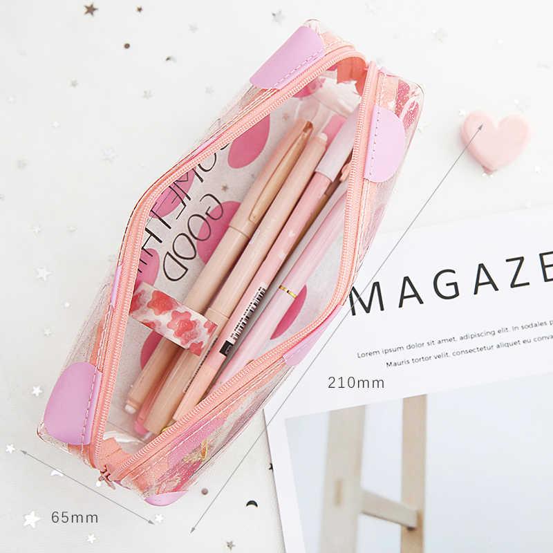 Mohamm ПВХ Кошка розовый прозрачный милый корейский Kawaii макияж Карандаш сумка карандаш Сумочка стационарный для школы