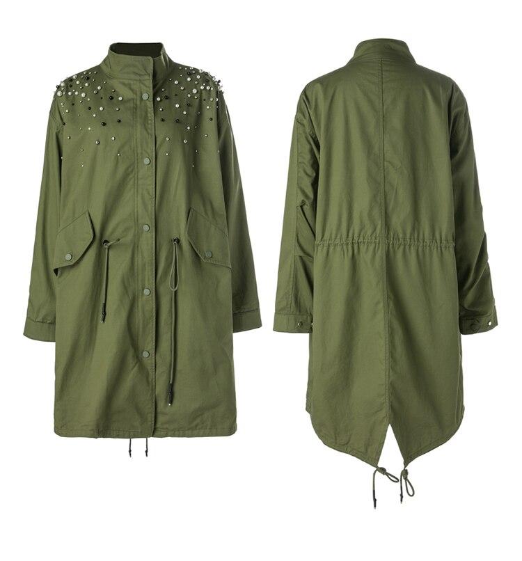MOFFI2018 autumn new female army green lapel medium long fashion beaded loose   trench   coat women casual Windbreaker GT01