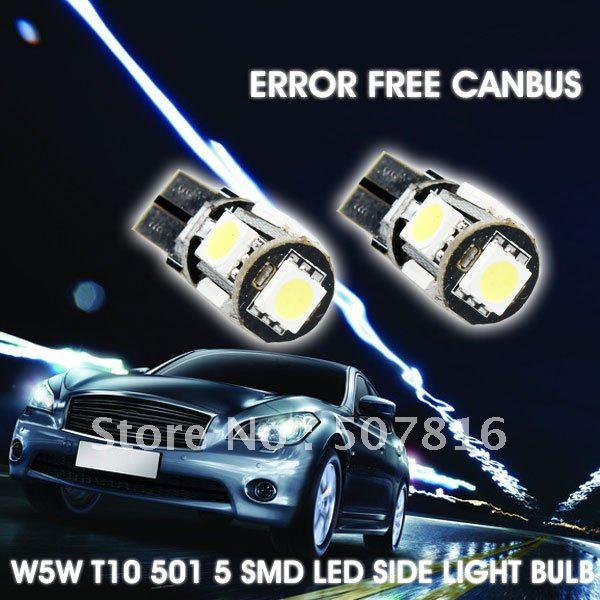 Wholesale Free Shipping car light 10pcs/lot Car Canbus LED Lamp Error Free T10 W5W 194 5050 SMD 5 LED White Light Bulbs