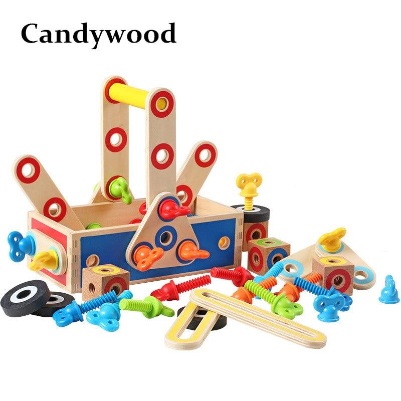 Candywood DIY En Bois Écrou Combinaison Puzzles Jouets Combiner Outils Noix Ensembles Apprentissage jouets Éducatifs pour Enfants garçon